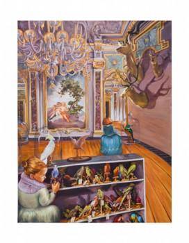 Hotel Grande Venice - Charles Darwins Enkeltöchter, 2014, Öl auf Leinwand, 150 x 195