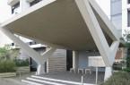 Das Portal mit der geneigten Deckplatte auf schräg gestellten Betonpfeilern.Foto: LWL/Herden-Hubertus