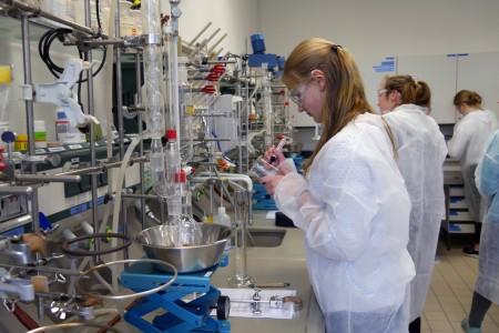 Konzentriert: Schülerin Anna Stroop bei den Vorbereitungen für die Herstellung von Calciumsulfat.