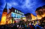 Bei den 15. Nachtansichten wurde das Theater am Alten Markt zur Projektionsfläche für eine beeindruckende 3D-Show.