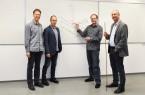Das Forscherteam aus Paderborn (v. l.): Dr. Uwe Gerstmann, Jun. Prof. Dr. Simone Sanna, Dr. Andreas Lücke und Prof. Dr. Wolf Gero Schmidt..Foto:Uni Paderborn