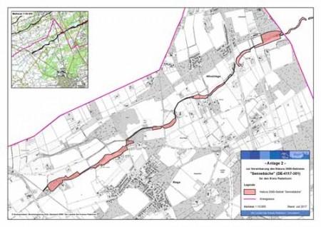 Die Karte zeigt das 14,72 Hektar große Gebiet am Furlbach. Vertreter aus Landwirtschaft, Forstwirtschaft, Wasserwirtschaft, der Bezirksregierung Detmold und der Gemeinde Hövelhof haben sich verpflichtet, die wertgebenden Arten und Lebensräume hier besonders zu schützen.