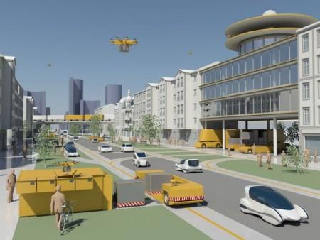 Die Zukunft des Güter- und Autoverkehrs simuliert diese Illustration der Daimler und Benz Stiftung.
