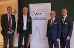 Tauschten sich über Wirtschaft und Politik aus (v.l.): Landrat Sven-Georg Adenauer, Albrecht Pförtner (Geschäftsführer pro Wirtschaft GT), Präsident des Landtags von NRW André Kuper und Volker Ervens (Vorsitzender der Wirtschaftsinitiative).