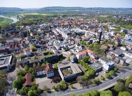 Luftbild der Stadt Minden. Foto: © Pressestelle der Stadt Minden