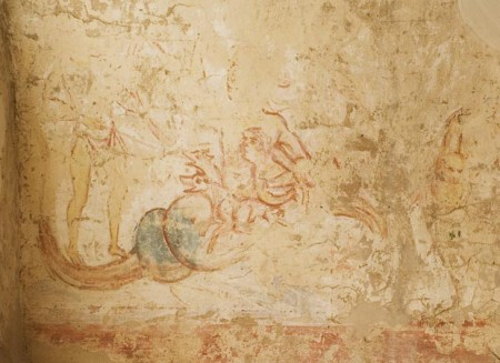 Die Wandmalerei im Johanneschor zeigt Odysseus Kampf gegen die Skylla. Foto: © Welterbestätte Corvey