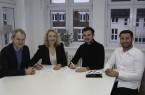 v.l.n.r.: FHM-Dozent Prof. Jochen Dickel, Prof. Dr. Astrid Kruse (Dekanin Fachbereich Medien), Dennis Grote (Geschäftsführer GOP), Okay Parlar (Leiter Online Marketing GOP).