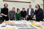 Die Experten Hellmut Neidhardt, Joachim Sterl, Prof. Christl Drey, Dr. Holger Pump-Uhlmann, Ulrich Paßlick und Prof. Jan Kampshoff im Bürgersaal der Stadt Büren in der kreativen Phase.