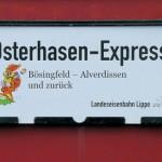 Osterhase im Museumszug unterwegs durch das Extertal