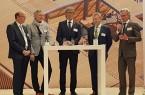 Diskutierten die Städtebauprojekte auf der polis Convention in Düsseldorf (v.l.): Bürgermeister Rainer Heller Stadt Detmold, Bürgermeister Henning Schulz Stadt Gütersloh, Bürgermeister Michael Jäcke Stadt Minden, stv. Bürgermeister Dietrich Honervogt Stadt Paderborn, Herbert Weber OWL GmbH.