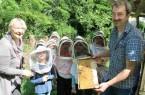 Keine Angst vor den Bienen: Imker Veit Dreessen zeigt den Ferienspielkindern, wie ein Bienenstock funktioniert. © Stadt Gütersloh