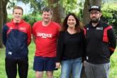 v.l.n.r.: Fabian Marxcord (2. Vorsitzender der HSG Augustdorf/Hövelhof), Lutz Strauch, Selda Lutz (1. Vorsitzende) und Dominik Kestner (neuer Teammanager). © HSG Augustdorf/Hövelhof