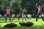 """Spaß an der Bewegung: Beim Auftakt von """"Sport im Park"""" mussten die Enten ihre Wiese teilen."""