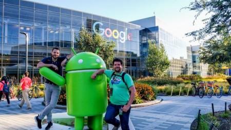 Jahn Heymann und Oliver Walter in der Firmenzentrale von Google in Mountain View.Foto: Universität Paderborn