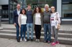 (v.l.): Bürgermeister Theo Mettenborg, Özge Erüstün (DJK), die EU-Freiwilligen Pau Arbat Marull und Andrea Fernandez Carroza sowie Stephan Crass (Palamósfreunde) und Natalia Kowal (DJK).