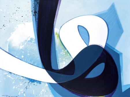 """Frisch aus dem Atelier: Die Malerei """"Verve 5"""" im Format 120 mal 160 cm von Aatifi in der neuen Ausstellung im Schauraum."""