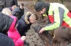 Revierförster Kroos erklärt die Spuren des Borkenkäfers in der Rinde.