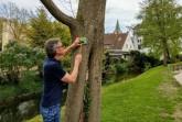 Karl Heinz Schäfer von der Tourist Information Paderborn prüft die Wegweisung der PaderWanderung am Inselspitzenweg Foto: Verkehrsverein Paderborn e. V.