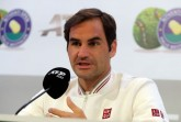 Halle-Rekordchampion Roger Federer stand vor seiner Erstrunden-Partie bei den 27. NOVENTI OPEN gegen den Australier John Millman den Journalisten in einer Pressekonferenz Rede und Antwort. © NOVENTI OPEN/HalleWestfalen