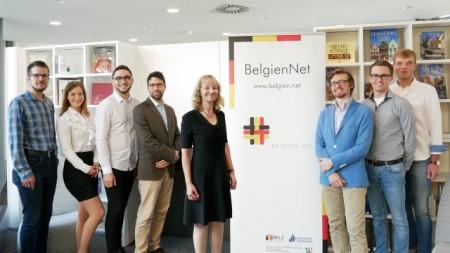 (BELZ/Julia Brandes): Das Team des BelgienNet (v. l.): Donato Morelli, Julia Brandes, Yonathan Seban, Resul Karaca, Prof. Dr. Sabine Schmitz, Yves Huybrechts, Hendrik Peeters und Marius Bröker.