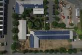 Die Photovoltaikanlage auf den Dächern des Betriebshofes bei den Städtischen Betrieben Minden (Bildnachweis: Städtische Betriebe Minden).