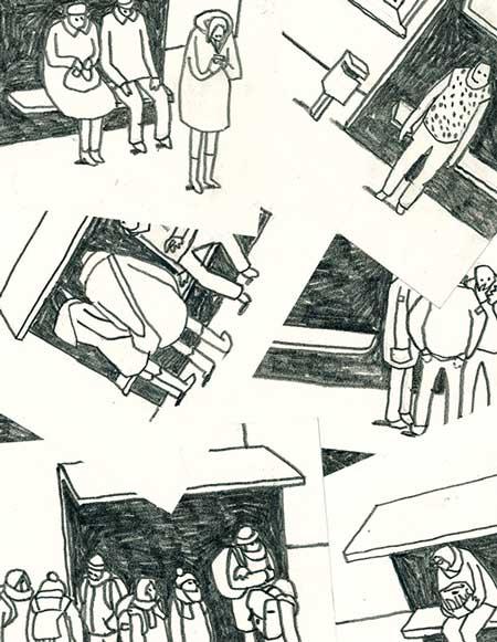 Ein erster Eindruck der Ausstellung der Bielefelder Künstlerin Vera Brüggemann. (Zeichnung: Vera Brüggemann)