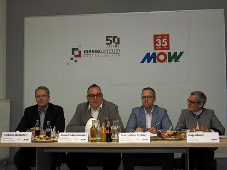 Andreas Reibchen, Bernd Schäfermeister, Maximilian Richter und Kaja Möller ziehen Bilanz aus 50 Jahren Messezentrum und 35 Jahren M.O.W..