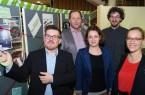 """Stellten gemeinsam das Programm für 2020 vor: (v.l.) Giovanni Fusarelli (Bielefeld Marketing), Prof. Dr. Lothar Budde (FH Bielefeld/ DA VINCI 500), Dr. Boukje Habets (Uni Bielefeld/ """"Spielend Forschen""""), Prof. Philipp Rupp (FH Bielefeld/ Modenschau) und Gesa Fischer (Bielefeld Marketing).  Foto: Bielefeld Marketing"""