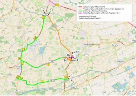Umleitungsplan für den Bau des Kreisverkehrs in Delbrück Westenholz, Foto: Kreis Paderborn
