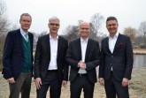 Neujahrsfrühstück der Wirtschaftsinitiative: (v.l.) Landrat Sven-Georg Adenauer, Albrecht Pförtner (pro Wirtschaft GT), MdB Ralf Brinkhaus und Volker Ervens (Wirtschaftsinitiative).