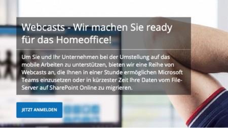 Net at Work bietet kostenlose Unterstützung für Homeoffice-Einstieg: Webcast-Reihe zu Teams, Fileserver-Migration und Microsoft 365 Einführung.