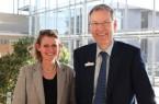 Regierungspräsidentin Judith Pirscher traf Landrat Sven-Georg Adenauer im Kreishaus Gütersloh. Foto: Kreis Gütersloh