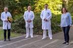 (v.l.): Prof. Dr. Gero Massenkeil, PD Dr. Matthias Kapischke, Prof. Dr. Axel von Bierbrauer und Maud Beste