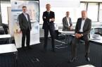 Präsentierten die Ergebnisse der Sonderkonjunkturumfrage und die Auswirkungen der Corona-Pandemie für die Industrie: IHK-Geschäftsführer Dr. Christoph von der Heiden, IHK-Präsident Wolf D. Meier-Scheuven, stv. IHK-Hauptgeschäftsführer Harald Grefe und IHK-Hauptgeschäftsführer Thomas Niehoff (v.l.), Foto: IHK