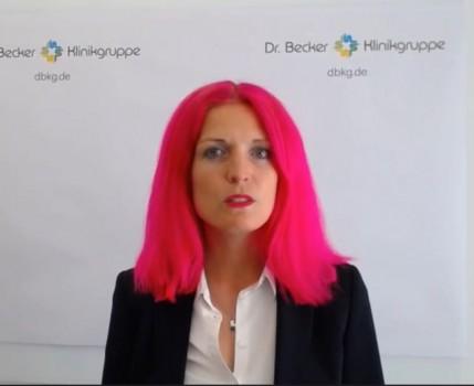 Dr. Alina Dahmen, Prokuristin und Geschäftsleitung der Dr. Becker Klinikgruppe, moderierte die drei digitalen Fach-Symposien.
