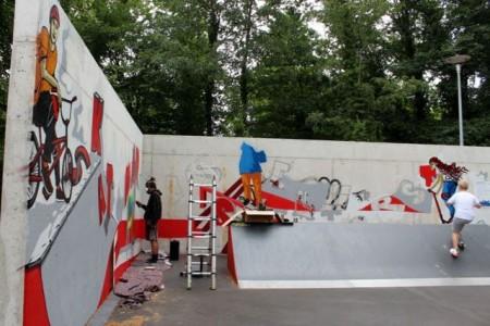 Auf 55 Quadratmetern entsteht das neue Kunstwerk an der Skate-Anlage in Isselhorst.Foto: Stadt Gütersloh