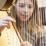 Harfen-Ausprobieren in der Johannes-Brahms-Musikschule