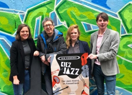 Sind gespannt auf die Kiez-Jazz-Premiere am 15. September: Jana Felmet (Programmleitung Weberei), Ansgar Specht (Musiker), Lena Jeckel (Stadt Gütersloh, Fachbereich Kultur), Steffen Böning (Bürgerkiez-Geschäftsführer)