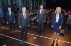 Begrüßten die neuen FHM-Studierenden 20/21: v.l.n.r. Prof. Dr. Walter Niemeier (Prodekan Studium & Lehre FHM), Jürgen Müller (Landrat Kreis Herford), Dr. Jens Prager (Hauptgeschäftsführer Handwerkskammer Ostwestfalen-Lippe), Prof. Dr. Anne Dreier (Rektorin der FHM).
