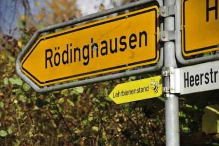 Eine Biene weist den Weg zum Rödinghauser Lehrbienenstand.Foto:Gemeinde Rödinghausen