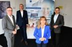 Präsentierten die Ergebnisse der IHK-Konjunkturumfrage Herbst 2020 für die Industrie: stv. IHK-Hauptgeschäftsführer Harald Grefe, IHK-Präsident Wolf D. Meier-Scheuven, IHK-Hauptgeschäftsführerin Petra Pigerl-Radtke und IHK-Geschäftsführer Dr. Christoph von der Heiden (v.l.), Foto: IHK
