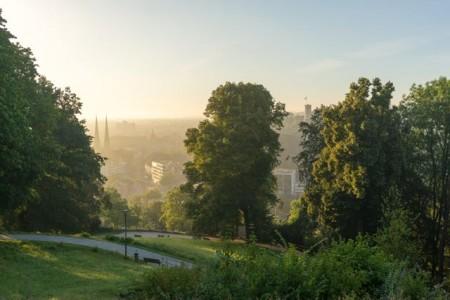 """Die frisch prämierte Wanderung """"Von Burg zu Berg"""" bietet tolle Aussichten auf die Stadt - wie hier vom Johannisberg auf die Innenstadt und die Sparrenburg.Foto: Marc Detering"""