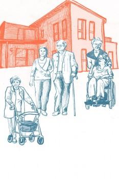 In dem Projekt wird die Tagespflege für Seniorinnen und Senioren untersucht. Illustration: Serafima Rayskina/ © FH Bielefeld
