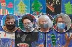 Auf dem Foto von links nach rechts: Beate Kreimeyer, Katharina Born, Gabi Heinrichsdorff und Erika Berners-Kaffenberger Mitarbeiterinnen der Stadtbibliothek Paderborn (die die Bilder aufgehängt haben, Foto: Stadt Paderborn Stadtbibliothek