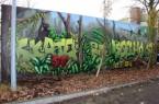 Auf der Rückseite der Betonwand zur Skate-Anlage an der Grundschule Isselhorst ist jetzt auf 55 Quadratmetern ein weiteres Kunstwerk entstanden. Foto: Graffito Skate Park Isselhorst