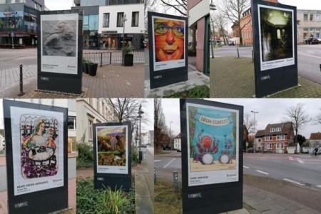 """Kunstwerke von insgesamt elf Künstlerinnen und Künstlern aus Gütersloh und Umgebung sind an fast 90 Standorten auf sogenannten """"City Lights"""" im gesamten Stadtgebiet zu finden.Foto: Stadt Gütersloh"""