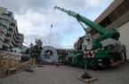 Auf riesigen Kabeltrommeln wurden die neuen Hochspannungskabel angeliefert. (Foto: Stadtwerke Bielefeld, Kronshage)