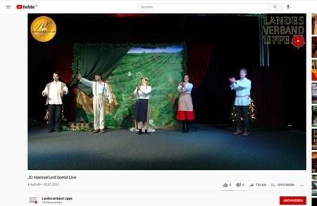 """Screenshot vom YouTube-Angebot der Aufführung """"Hänsel und Gretel"""" durch die Junge Oper Detmold. Foto: Landesverband Lippe"""