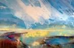 Ein Exponat der Online-Ausstellung. Marion Doxie Delaubell, Erlöser Horizont II, Eitempera und Öl, 100 x 200cm, 2020, © Marion Doxie Delaubell