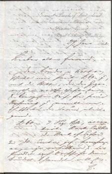 Erste Seite des Briefes von Ferdinand Freiligrath an Levin Schücking vom 27.1.1862 (Lippische Landesbibliothek, FrS 654)